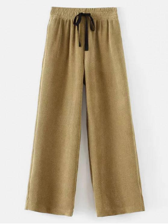 chic Drawstring Corduroy Wide Leg Pants - LIGHT KHAKI XL
