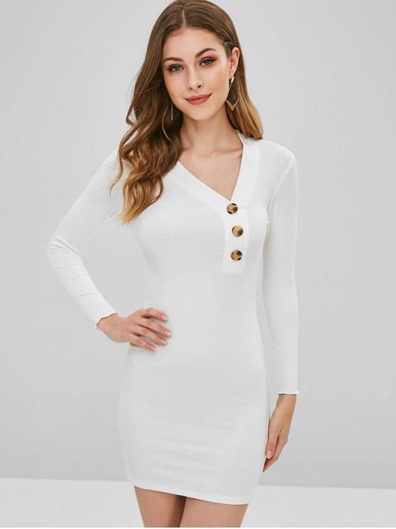 women's Buttoned Ribbed Bodycon Dress - WHITE L