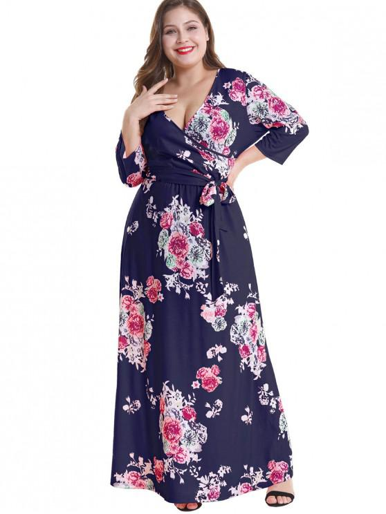 54f6fd06f76 2019 Floral Plus Size Surplice Maxi Belted Dress In DEEP BLUE 1X ...