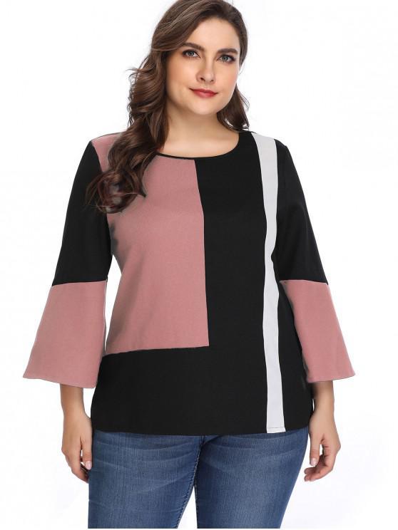 buy Long Sleeve Color Block Plus Size Blouse - PINK 4X