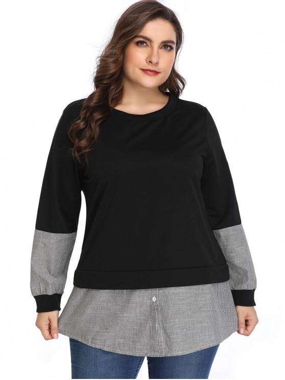 new Buttoned Stripes Panel Plus Size Sweatshirt - BLACK 3X