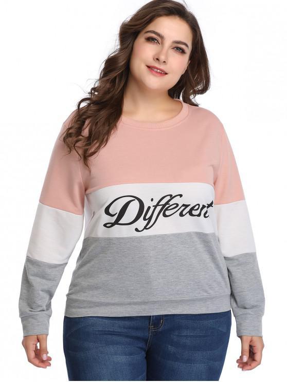 trendy Different Graphic Color Block Plus Size Sweatshirt - MULTI 5X