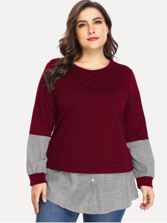 fancy Buttoned Stripes Panel Plus Size Sweatshirt - RED WINE 4X