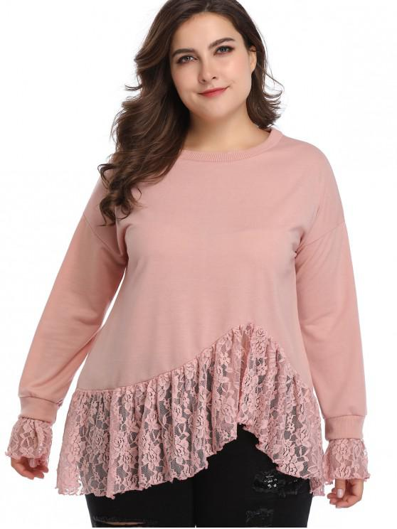 affordable Lace Insert Plus Size Sweatshirt - PINK 4X