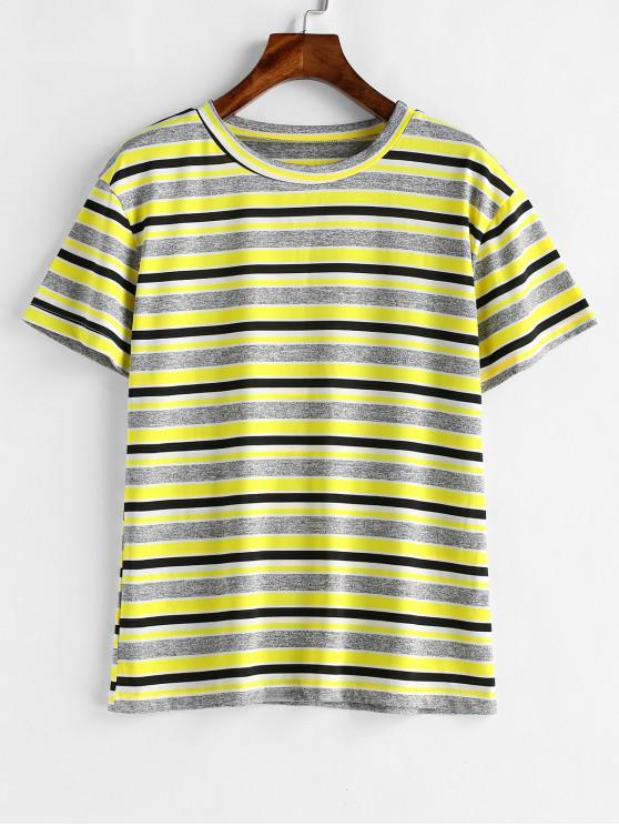 outfits Striped Short Sleeves Tee - GOLDENROD S