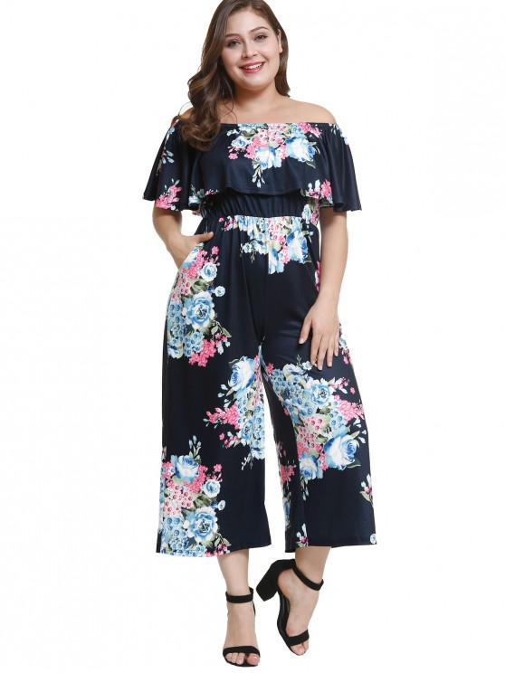 7284ad5bbca 33% OFF  2019 Off Shoulder Plus Size Floral Flounce Jumpsuit In DEEP ...