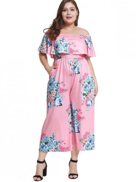 Off Schulter Plus Size Floral Volant Jumpsuit - Pink 4X