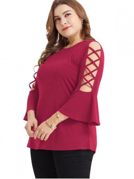 chic Lattice Flare Sleeve Plus Size Tunic Tee - ROSE RED 4X