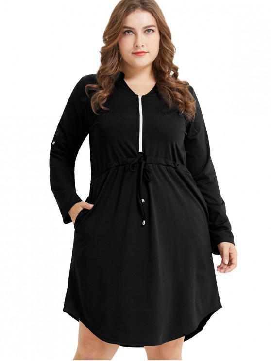 sale Long Sleeve Plus Size Half Zip Drawstring Dress - BLACK 3X