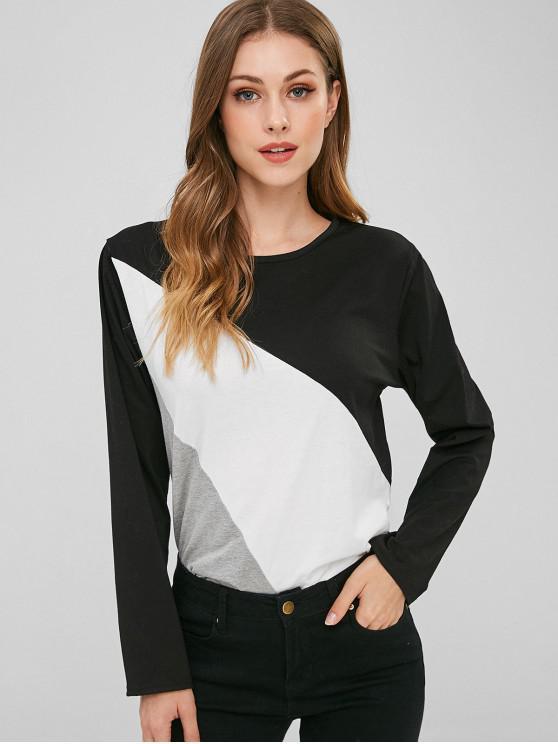 Camiseta Tricolor Bloque Color Manga Larga - Negro L