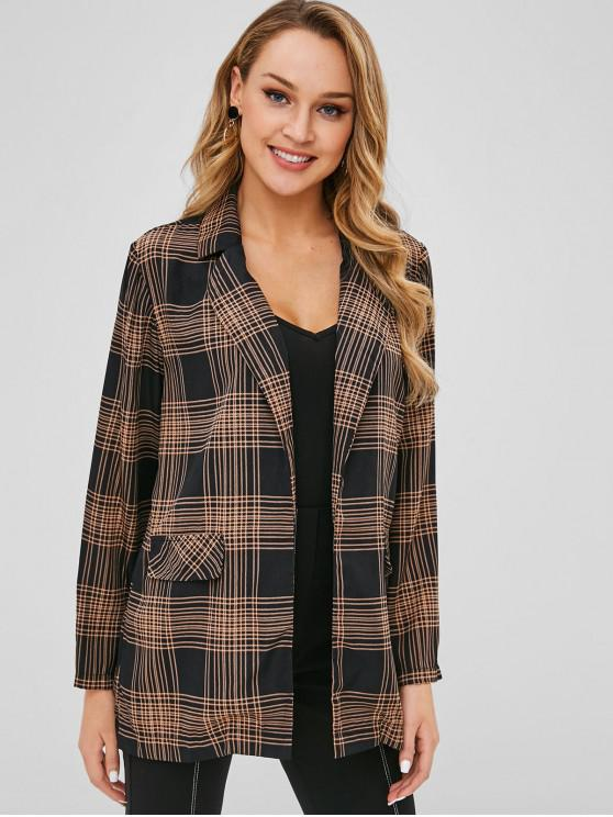 lady Open Front Checked Blazer - BLACK L