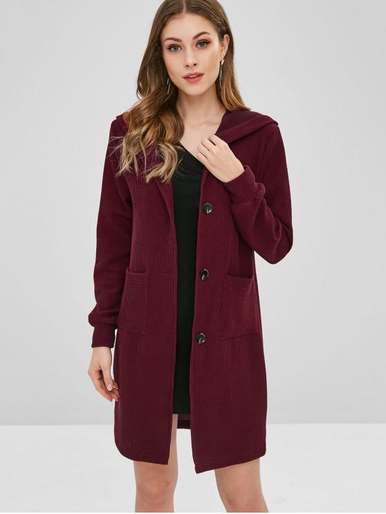 womens Longline Hooded Button Up Coat - RED WINE M