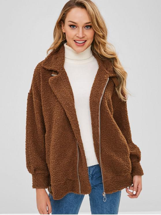 women's Drop Shoulder Zip Up Teddy Coat - BROWN L