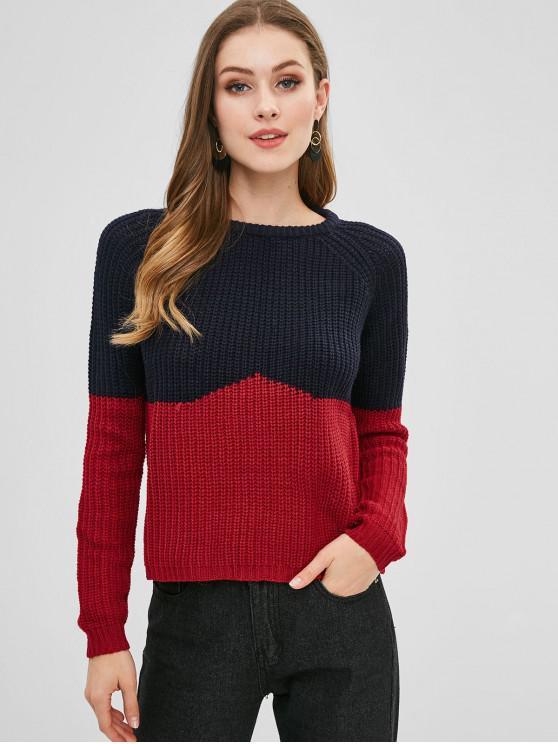 Suéter grueso de dos tonos de mangas raglán - Multicolor M