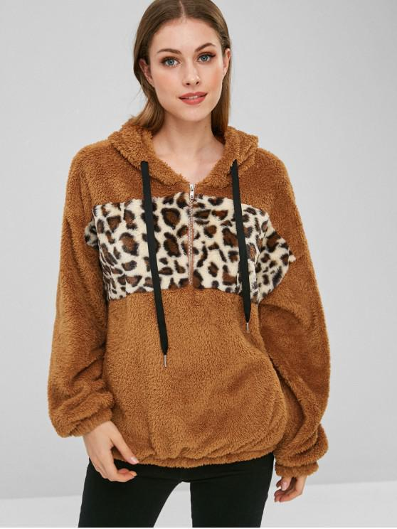 Panel de leopardo con cremallera sudadera con capucha - Tigre Anaranjado XL