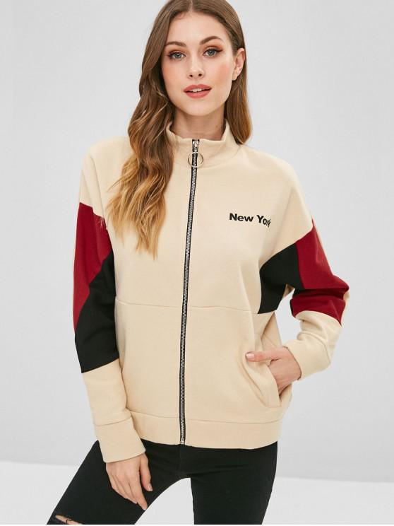 online Letter Graphic Color Block Sweatshirt - APRICOT L