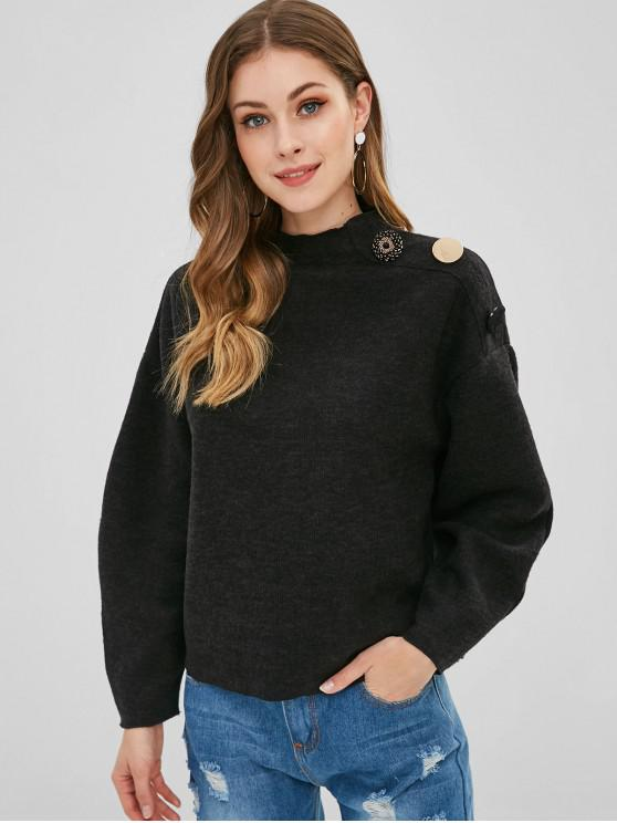 shops Beaded Buttons Mock Neck Sweater - BLACK L