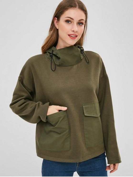 latest Front Pockets Fleece Hoodie - ARMY GREEN S