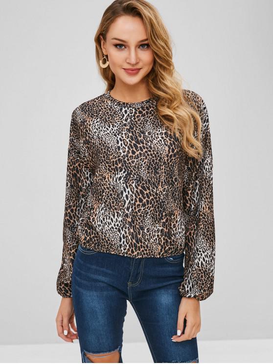 chic Drop Shoulders Leopard Sweatshirt - LEOPARD S
