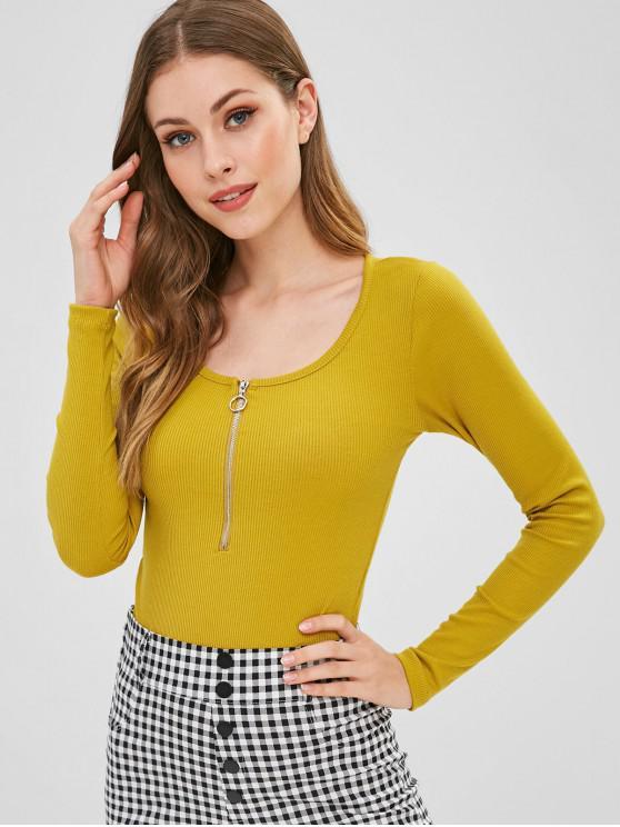 shop Half-zip Ribbed Bodysuit - YELLOW L