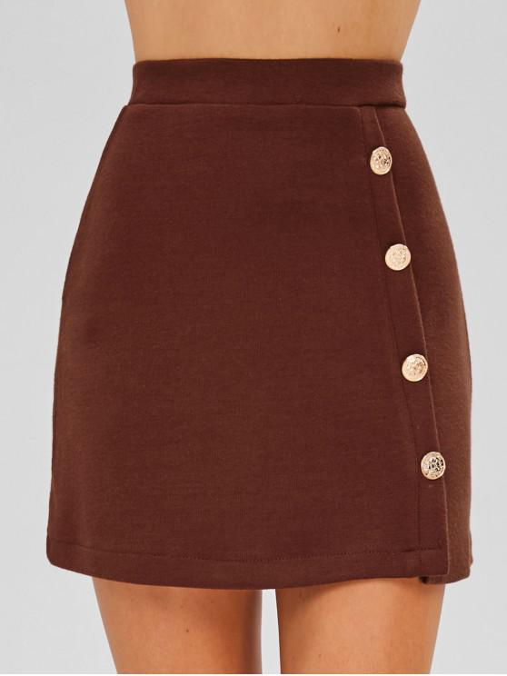 sale Buttoned Knit Skirt - BROWN L
