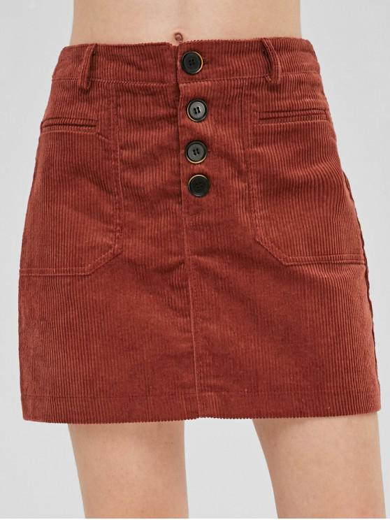 hot Button Fly Corduroy Skirt - CHERRY RED L