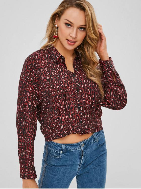 chic Pleated-detail Leopard Shirt - MULTI M