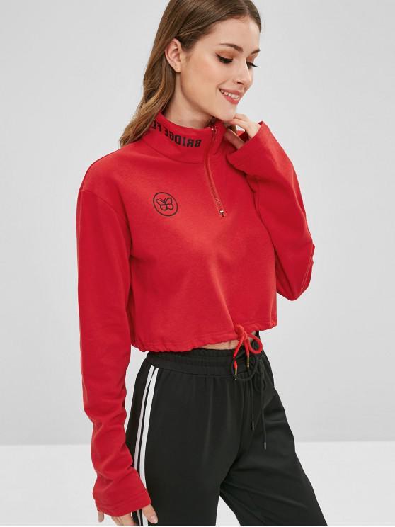 Sweat-shirt Graphique à Demi-zip Ourlet à Cordon - Rouge Lave S