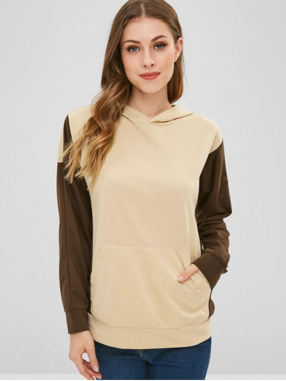 hot Two Tone Front Pocket Hoodie - APRICOT S