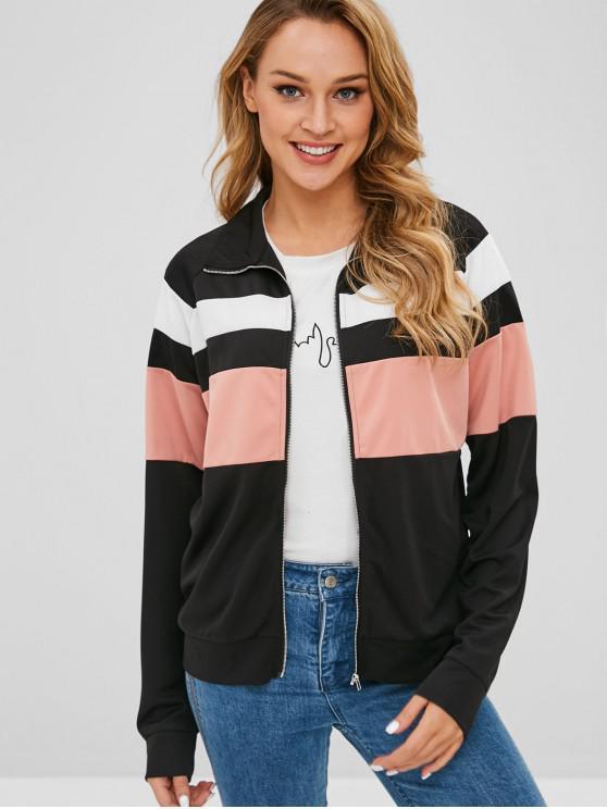 hot Color Block Jacket - BLACK S