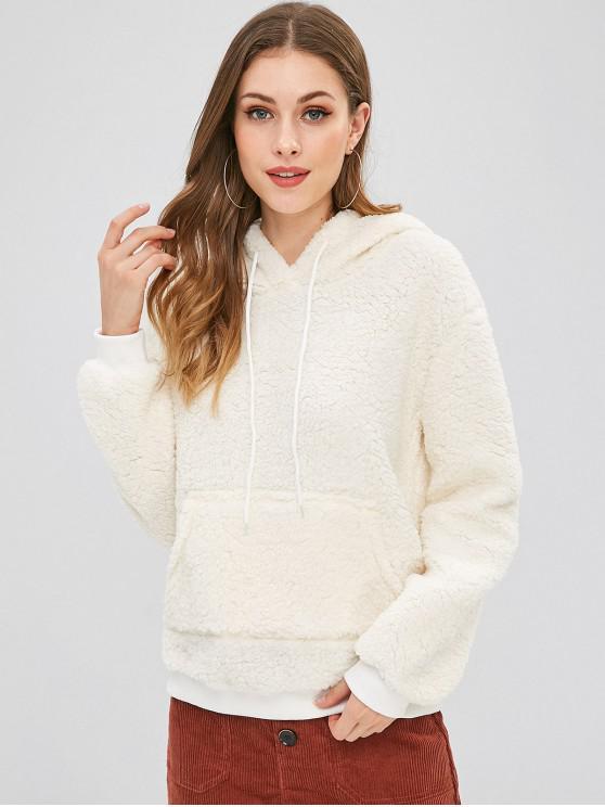 Felpa Pullover In Lana Con Cappuccio E Tasca - Bianco caldo L
