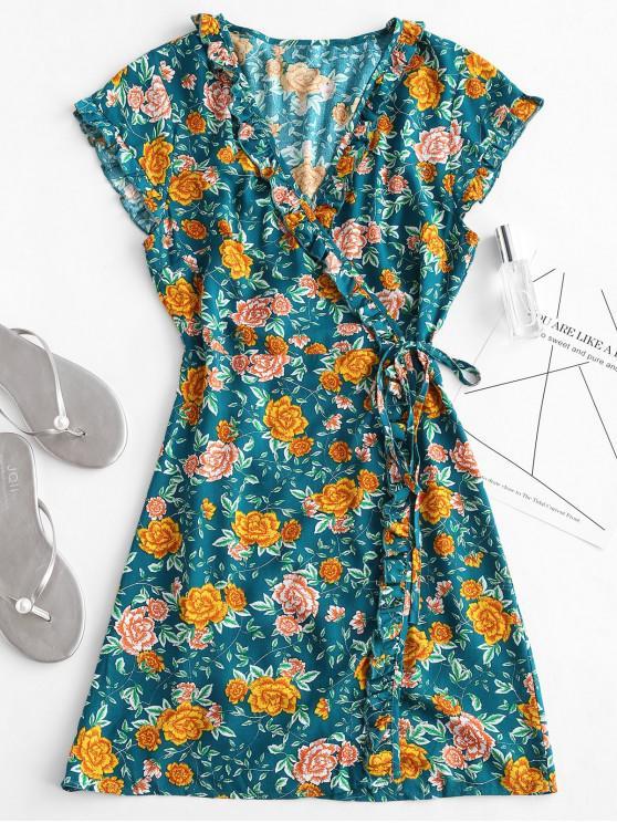 Babados Floral Envoltório Vestido - Verde L