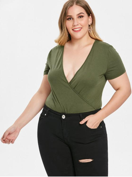 fashion Plus Size Surplice Bodysuit - GREEN 2X