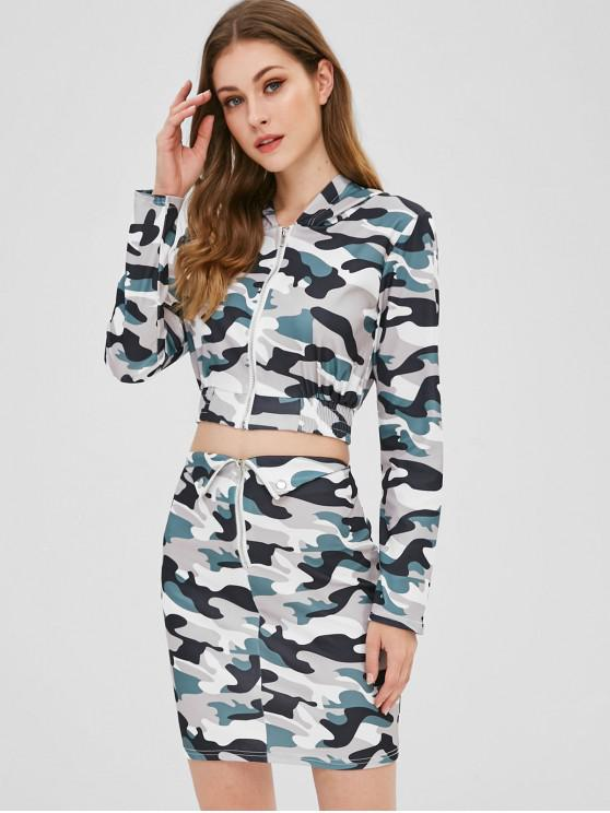 hot Camo Print Crop Top and Skirt Two Piece Set - ACU CAMOUFLAGE XL