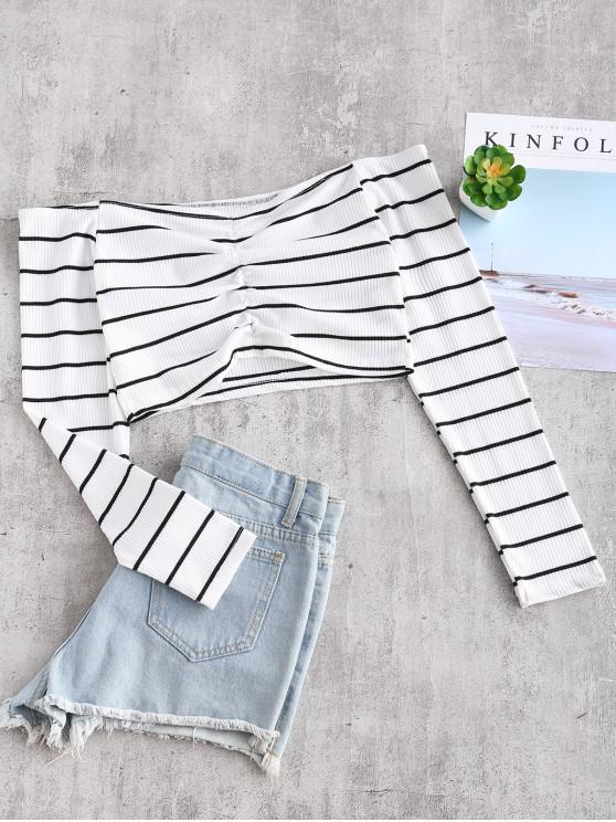 sale Off Shoulder Striped Ruched Crop Tee - WHITE M