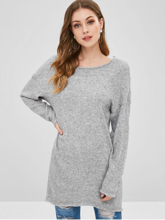Suéter largo y bajo de hombros caídos - Nube Gris S