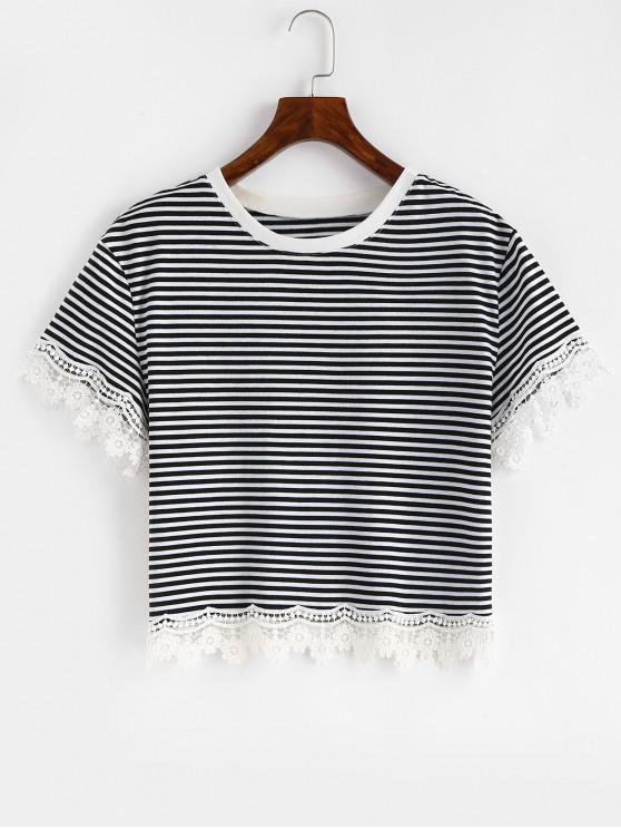 shop Scalloped Crochet Panel Striped Tee - BLACK L