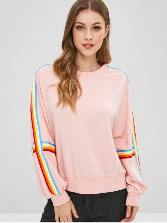 buy Colorful Striped Drop Shoulder Sweatshirt - PINK M