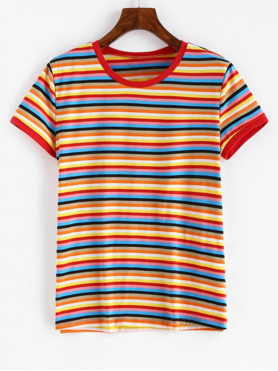 affordable Short Sleeve Colorful Stripes T Shirt - MULTI S