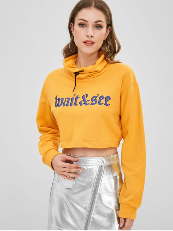 fancy Cowl Neck Graphic Cropped Sweatshirt - BRIGHT YELLOW M