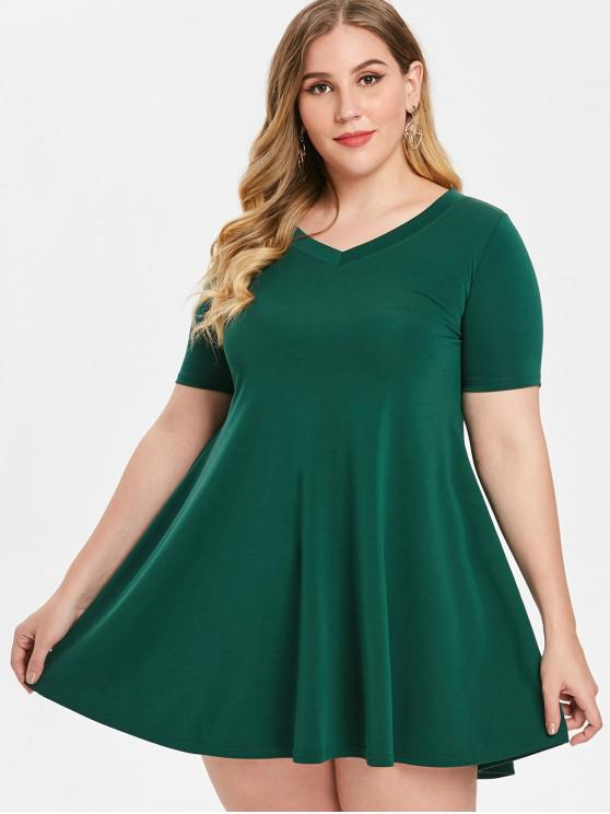 47% OFF] 2019 Plus Size Trapeze Dress In GREEN | ZAFUL