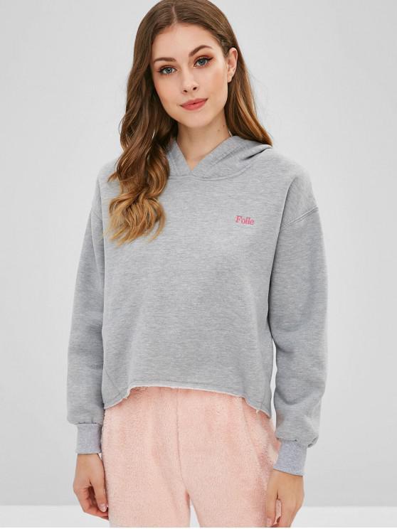 women Drop Shoulder Letter Embroidered Fleece Hoodie - GRAY M