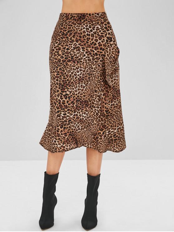 ladies Leopard Ruffle Tulip Skirt - LEOPARD L