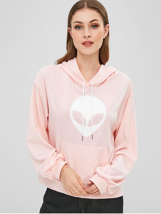fashion Kangaroo Pocket Aliens Graphic Hoodie - SAKURA PINK S