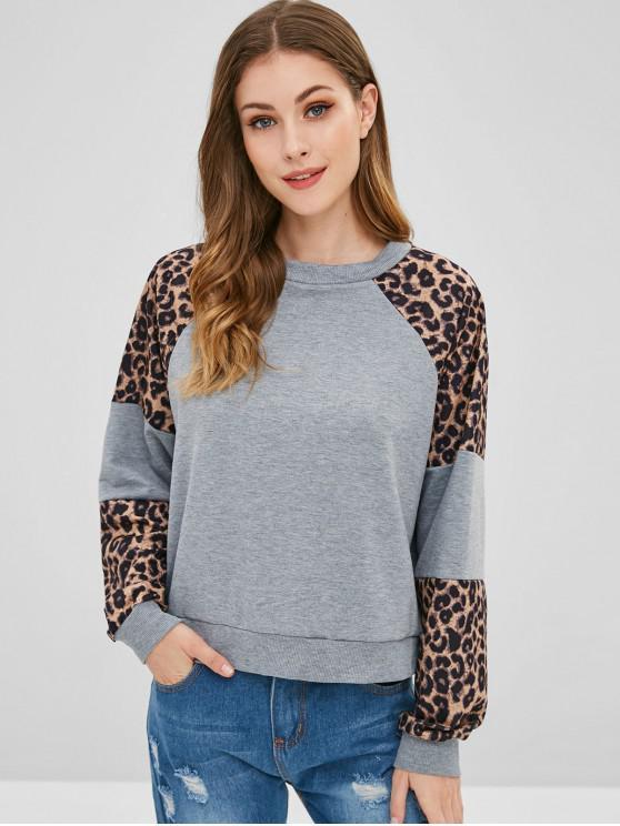 buy Leopard Print Raglan Sleeved Sweatshirt - MULTI-A XL