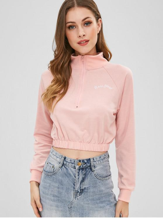 hot Letter Embroidered Half Zip Crop Sweatshirt - SAKURA PINK S