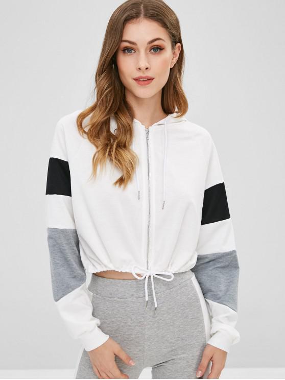 shops Raglan Sleeves Three Tone Crop Hoodie - MULTI-A L