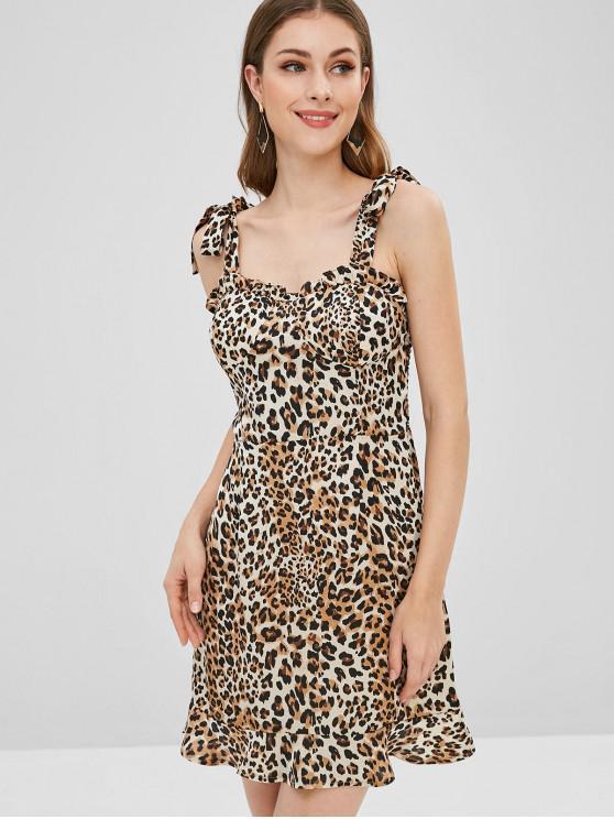 fashion Tie Shoulders Padded Leopard Dress - LEOPARD L