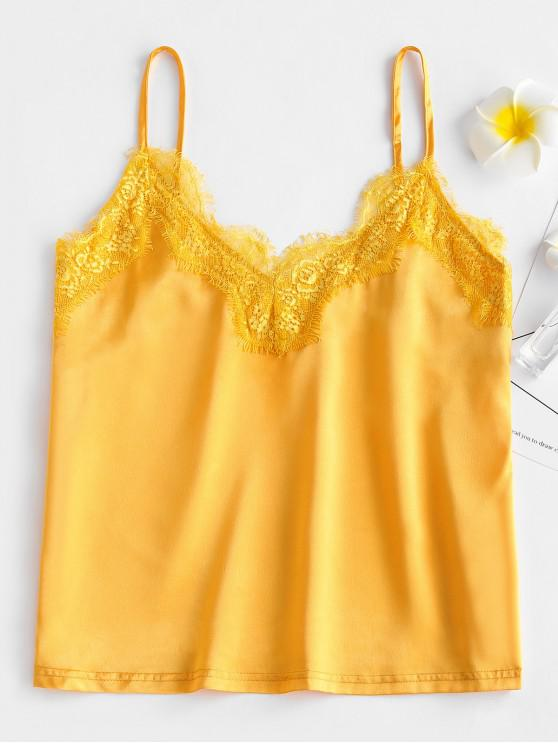 outfit ZAFUL Satin Lace Panel Tank Top - RUBBER DUCKY YELLOW L
