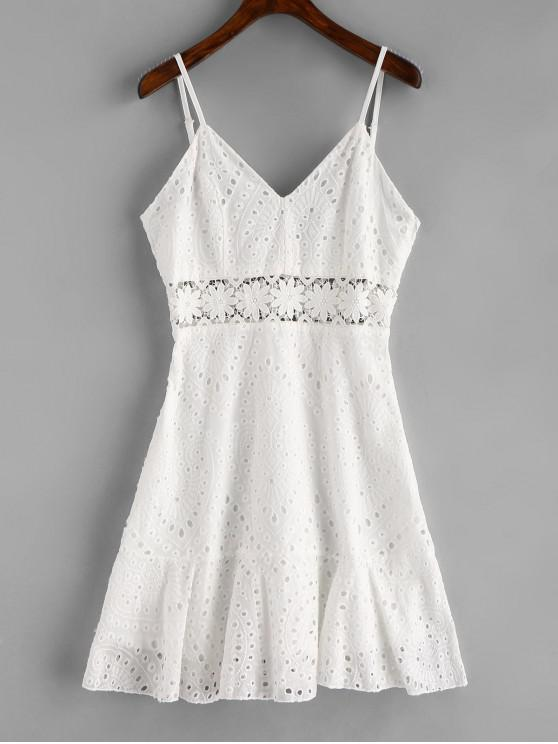 hot Crochet Panel Eyelet Cami Dress - WHITE S
